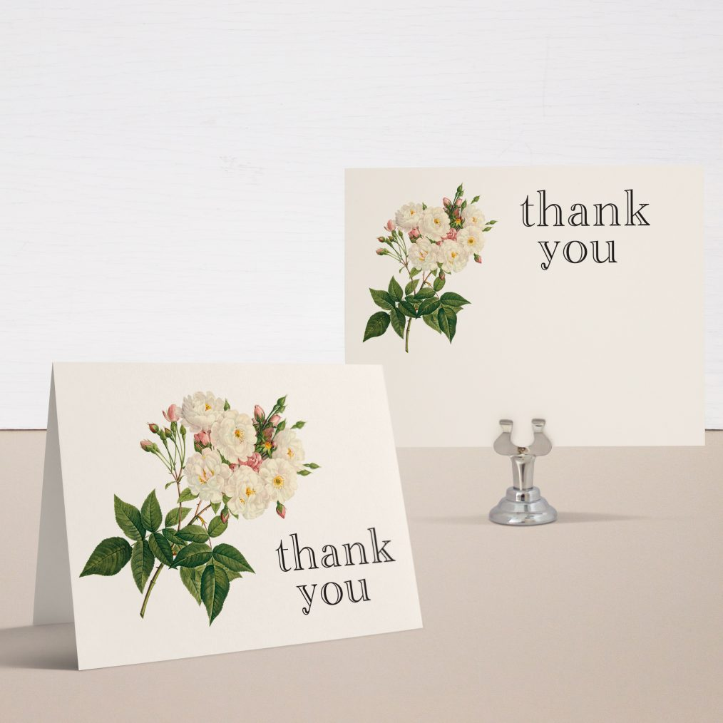 Ivory & Peach Thank You Cards