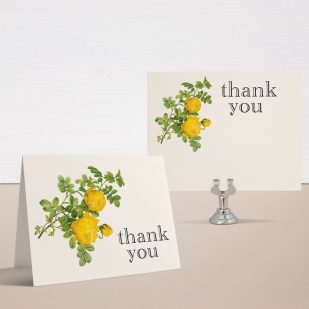 Yellow Garden Rose Bridal Shower Thank You Cards