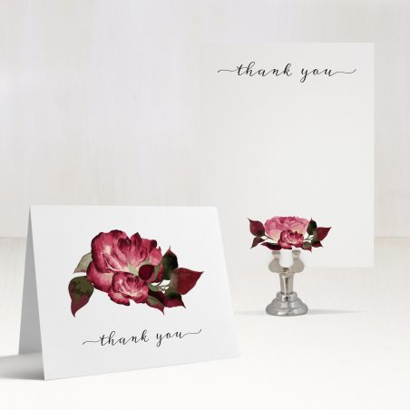 Burgundy Rose Thank You Cards
