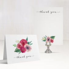 Deep Red Roses Thank You Cards