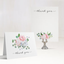Dusty Blue Floral Thank You Cards