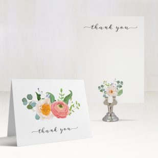 Elegant Coral Thank You Cards