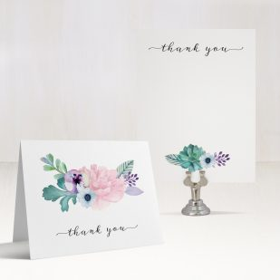 Lilac Succulent Thank You Cards