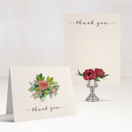 Mauve Floral Thank You Cards
