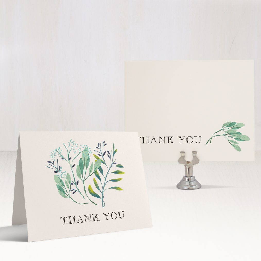 Navy Botanicals Thank You Cards