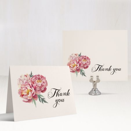Pink Peonies Thank You Cards