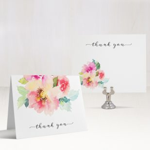 Seafoam Floral Thank You Cards