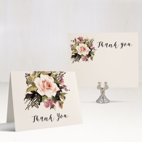 Soft Roses Thank You Cards