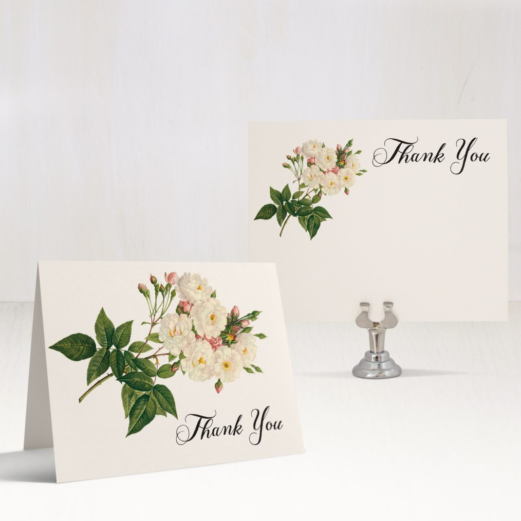 Navy Garden Rose Thank You Cards