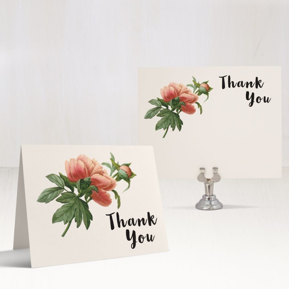 Pastel Peony Thank You Cards