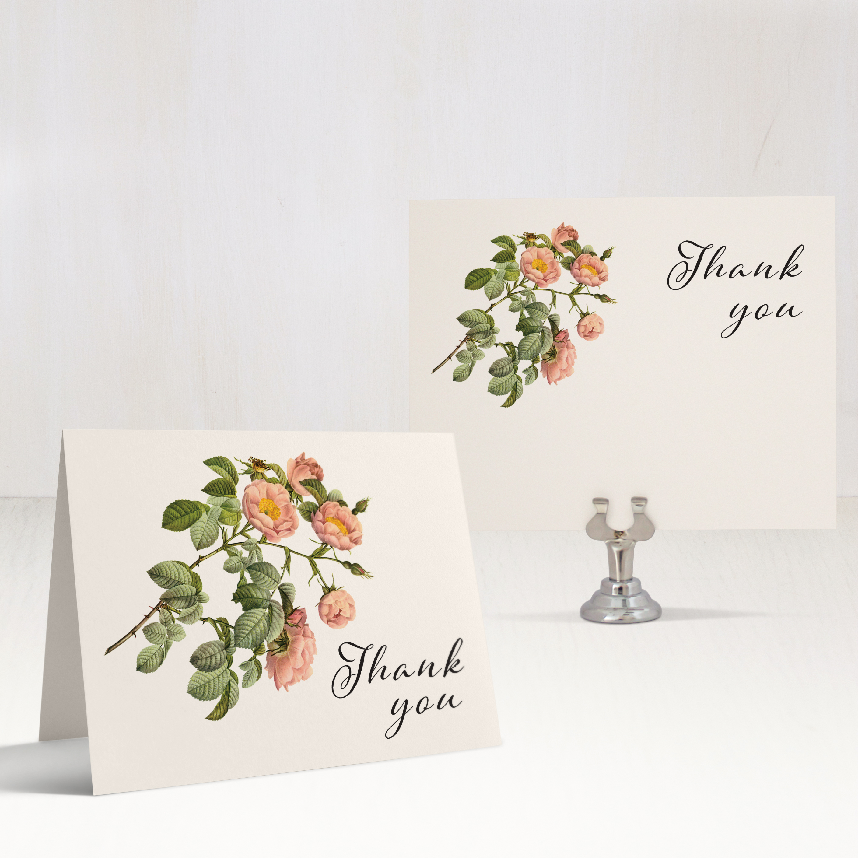 Shabby Rose Thank You Cards