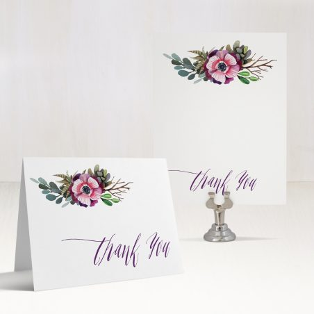 Succulent Script Thank You Cards