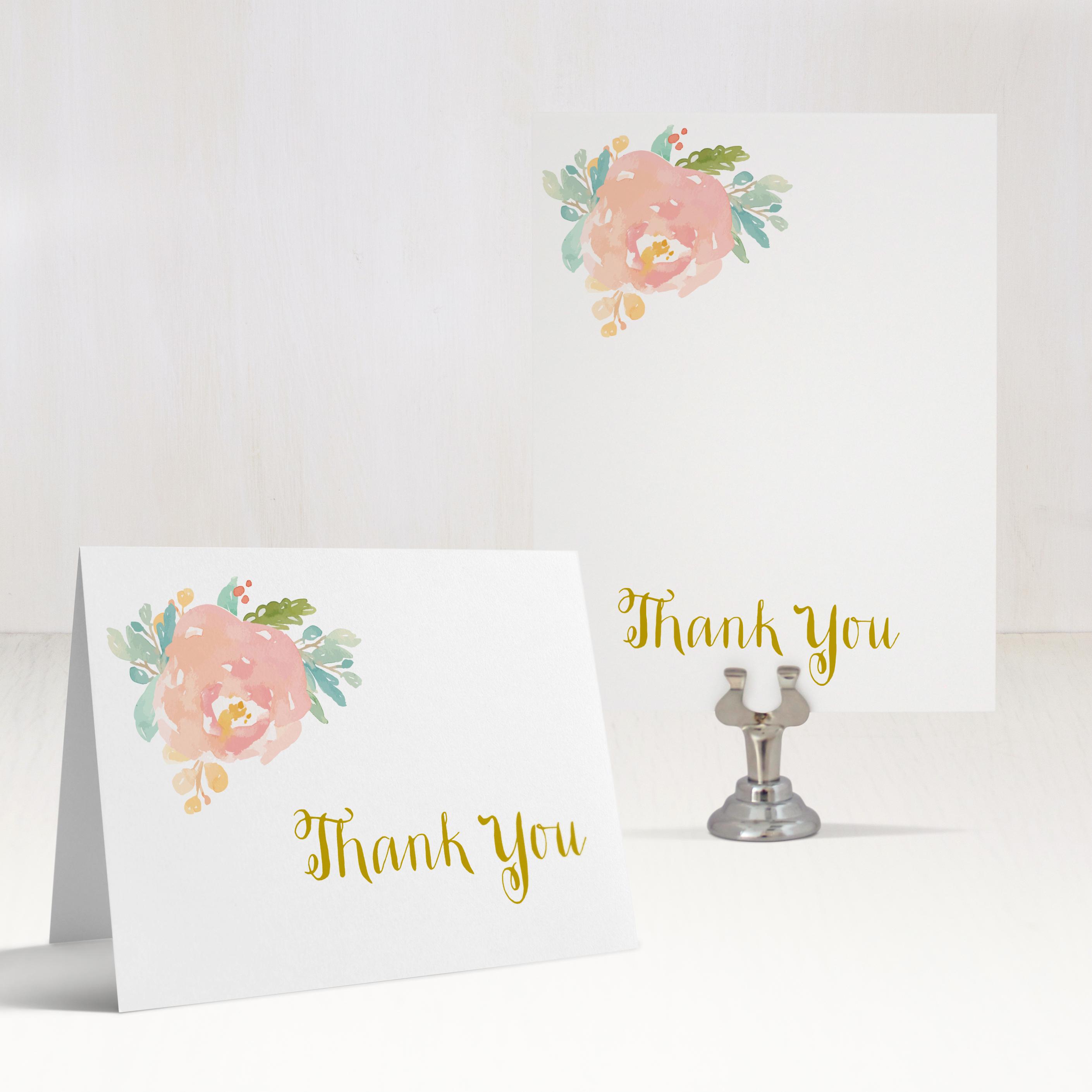 watercolor pastel customizable thank you cards beacon lane