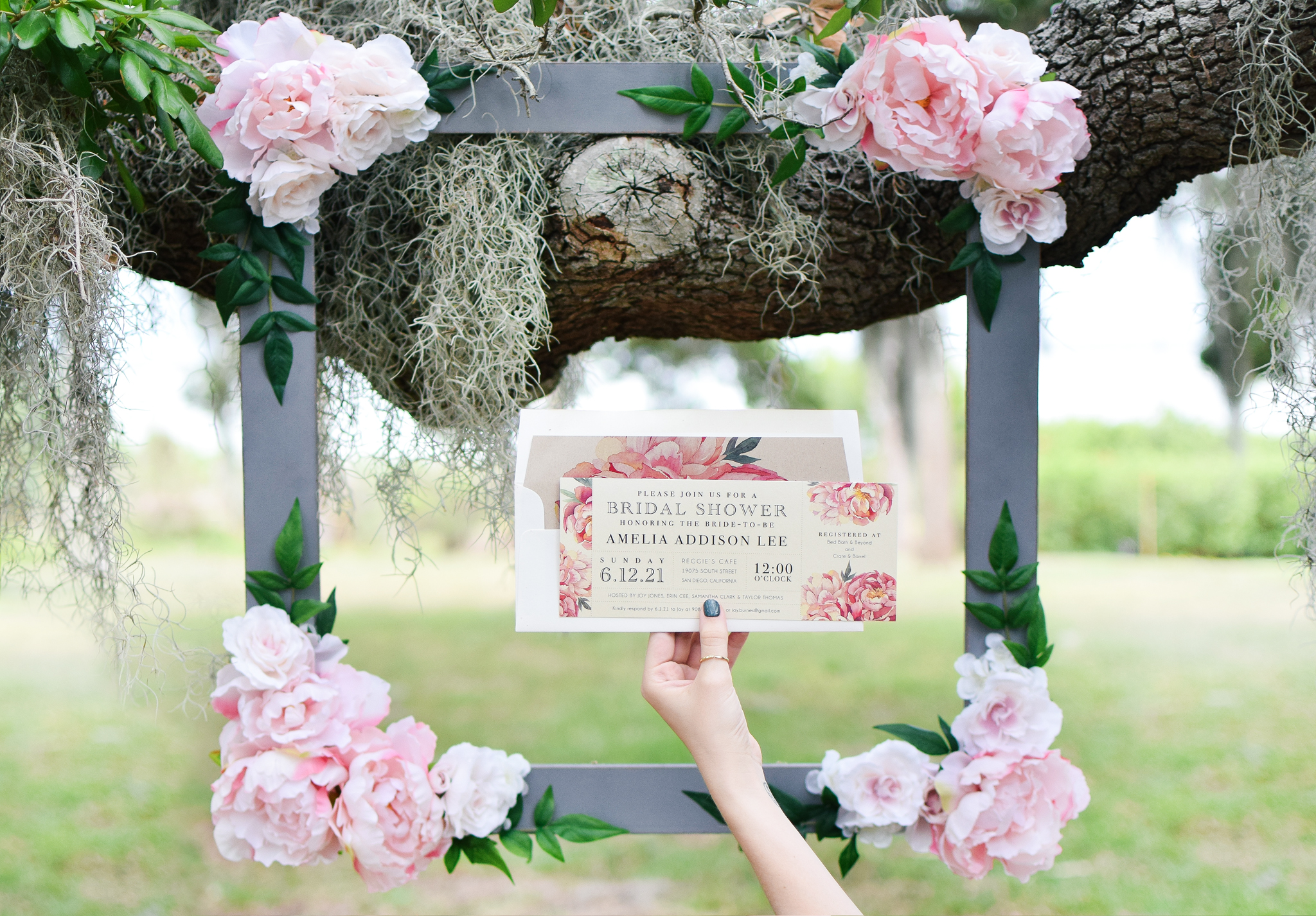 Diy Bridal Shower Floral Photo Booth Frame Beacon Lane
