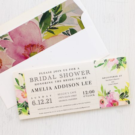 Blush & Coral Floral Bridal Shower Invitations