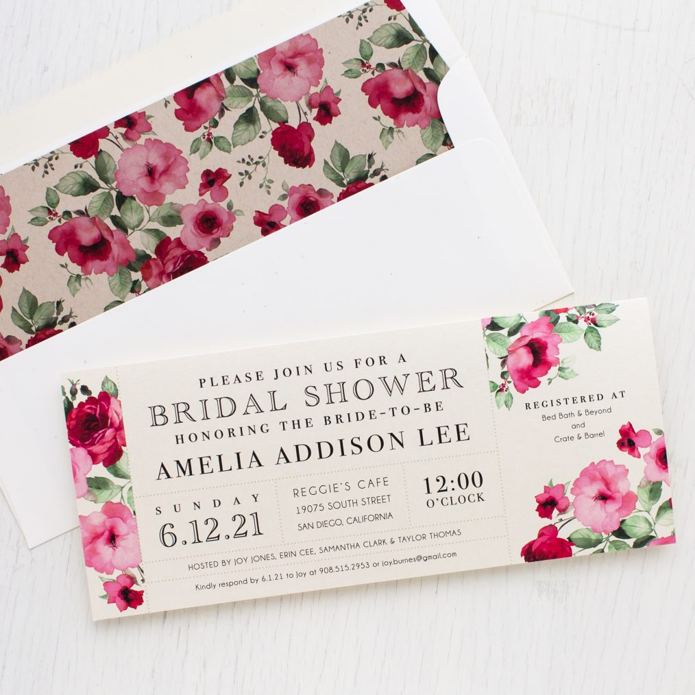 Cranberry Crush Bridal Shower Invitations