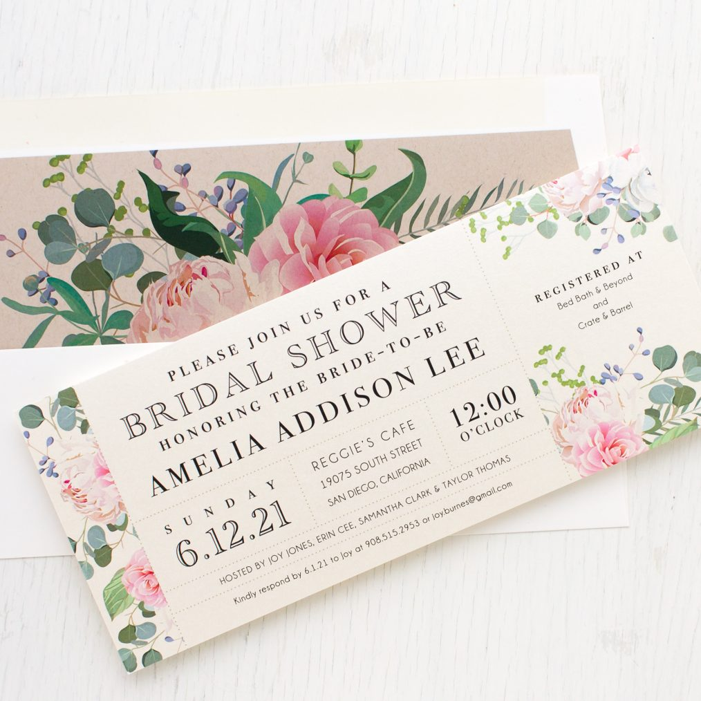 Dusty Blue Floral Bridal Shower Invitations