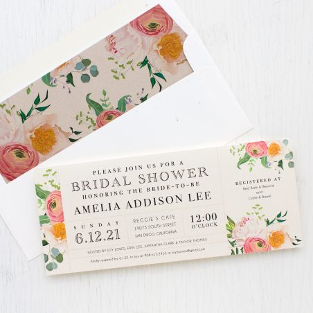 Elegant Coral Bridal Shower Invitations