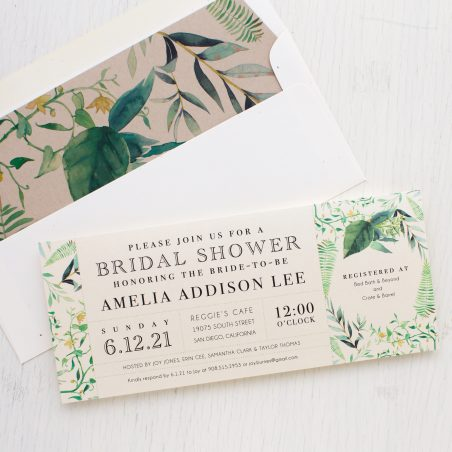 Botanical Garden Bridal Shower Invitations