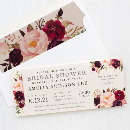 Burgundy Floral Bridal Shower Invitations