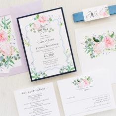 romantic blue wedding invitations