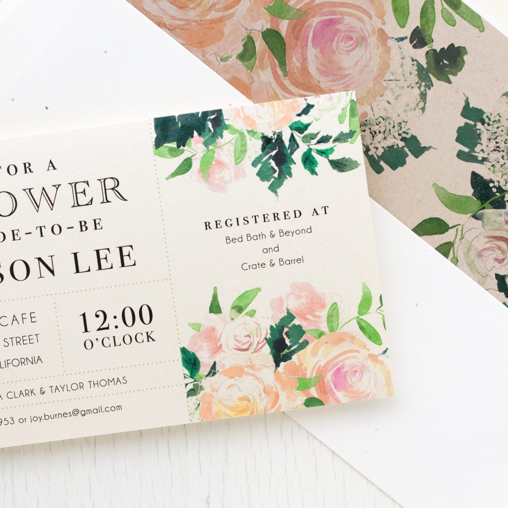 Garden Blooms Bridal Shower Invitations