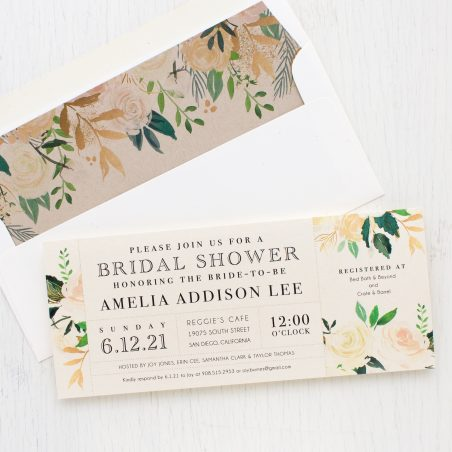 Ivory & Gold Bridal Shower Invitations