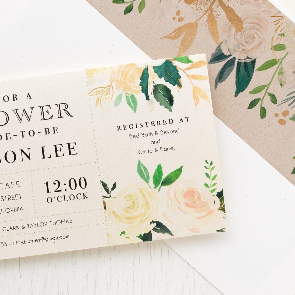 Ivory & Gold Bridal Shower Invitations