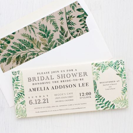 Simple Greenery Bridal Shower Invitations
