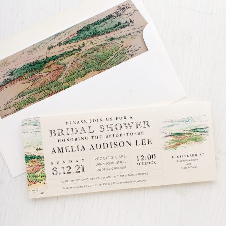 Winery Landscape Bridal Shower Invitations