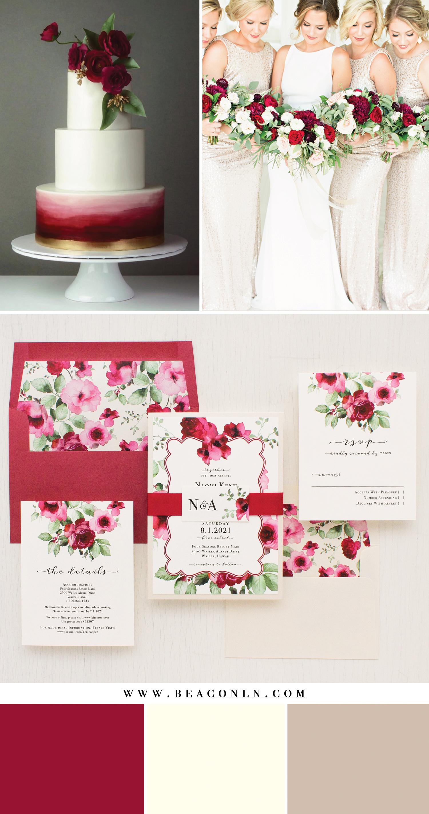 Romantic Crimson Floral Wedding