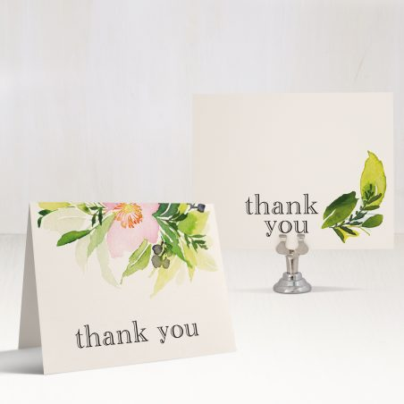 Blush & Coral Floral Bridal Shower Thank You Cards