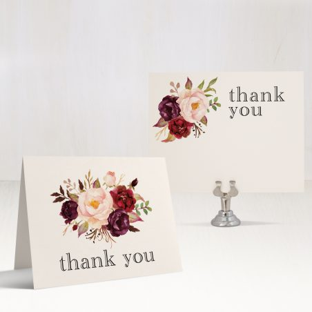 Burgundy Floral Bridal Shower Thank You Cards