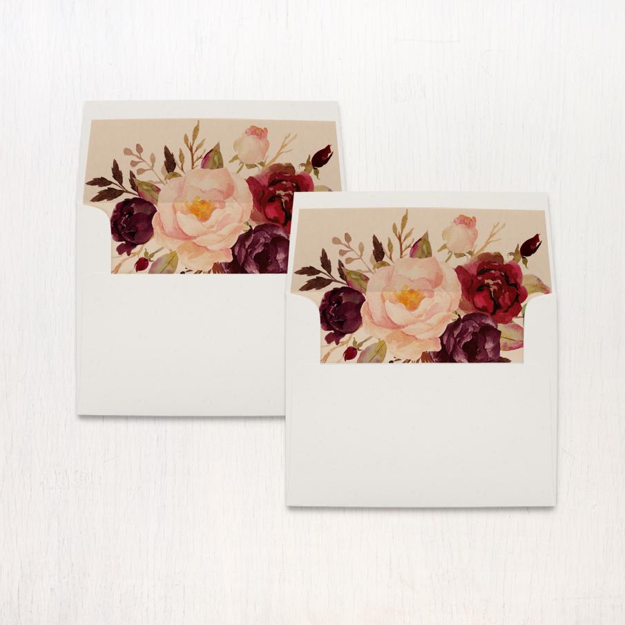 Burgundy Floral Bridal Shower Thank You Cards