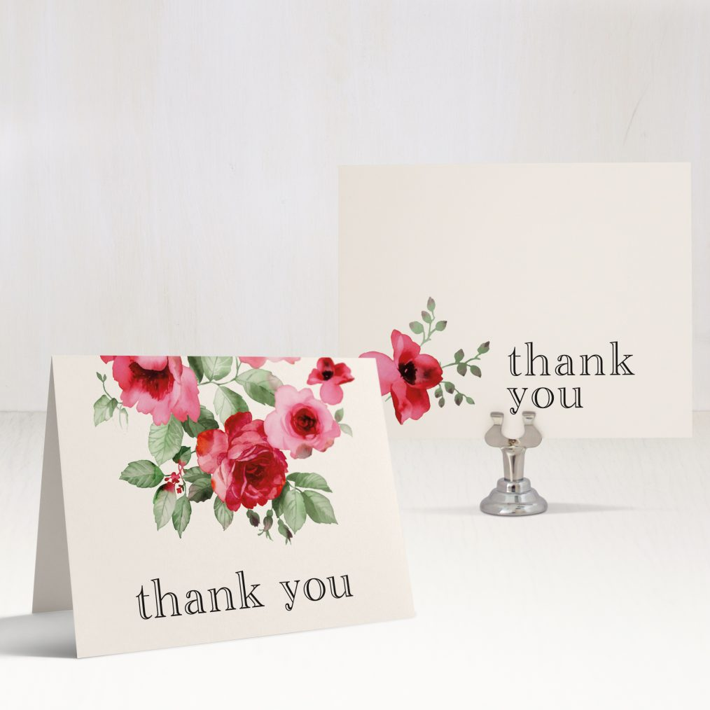 Cranberry Crush Bridal Shower Thank You Cards