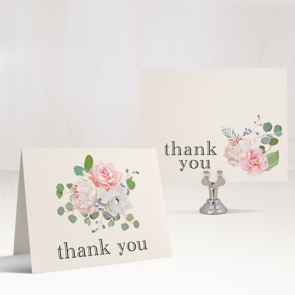 Dusty Blue Floral Bridal Shower Thank You Card