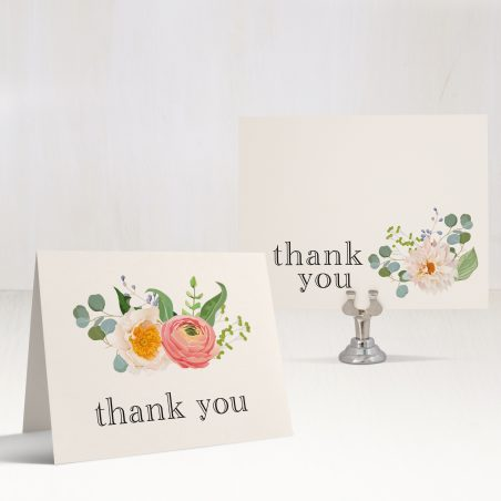 Elegant Coral Bridal Shower Thank You Cards