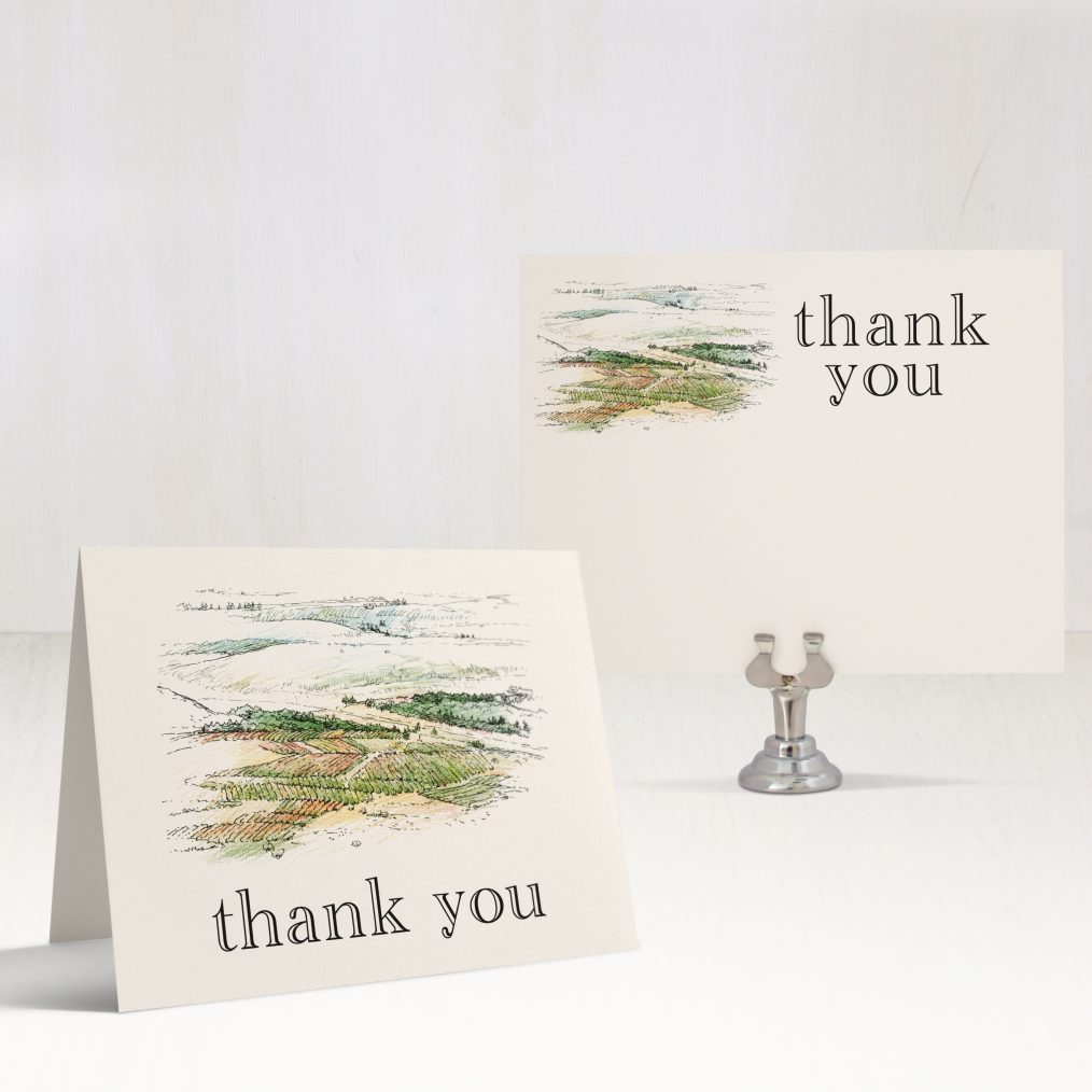 Winery Landscape Bridal Shower Thank You Cards
