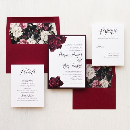 Deep Red and Burgundy Floral Wedding Invitations