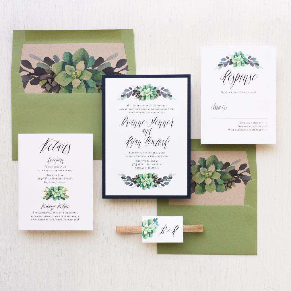 Moss Succulent Wedding Invitations