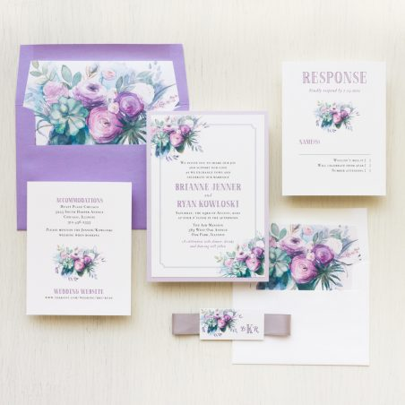 Purple Watercolor Rose Wedding Invitations