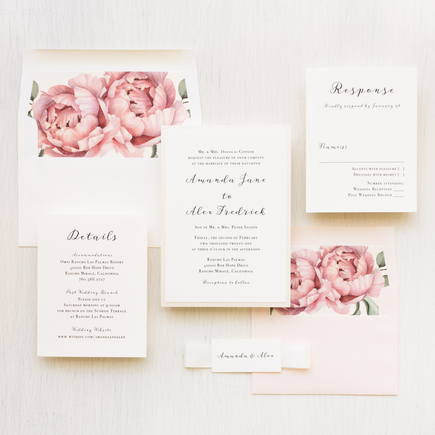 Simple Blush Wedding Invitations With Floral Envelope Liner Beacon