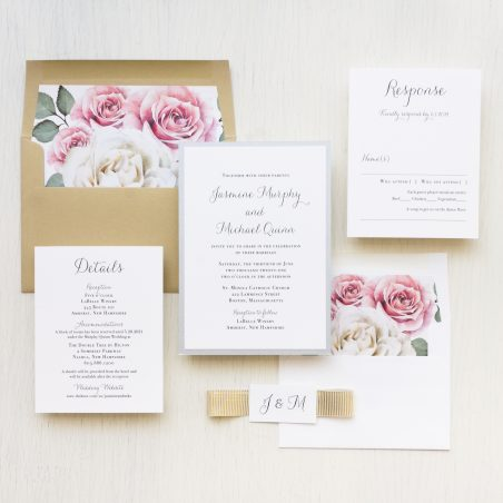 Simple Mauve Floral Wedding Invitations