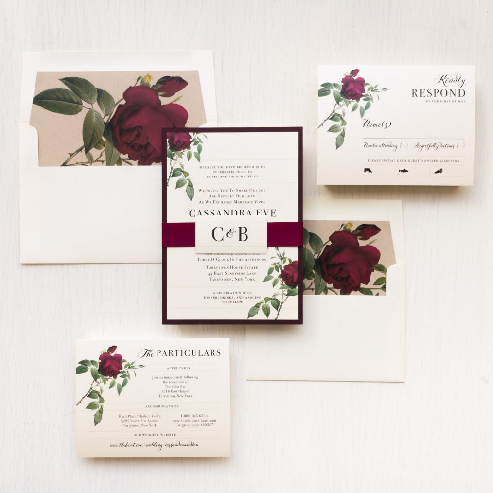 Ivory & Burgundy Floral Wedding Invitations