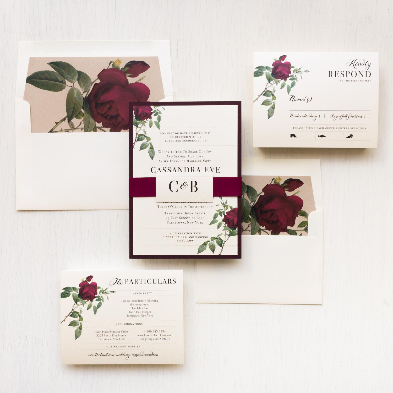 Floral Wedding Invitations.Ivory Burgundy Wedding Invitations Beacon Lane