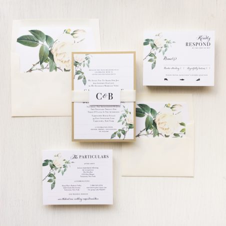 Ivory & White Floral Wedding Invitations