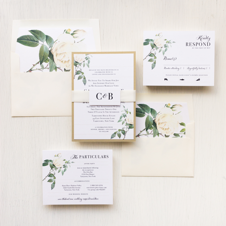 Floral Wedding Invitations.Ivory White Wedding Invitations Floral Beacon Lane