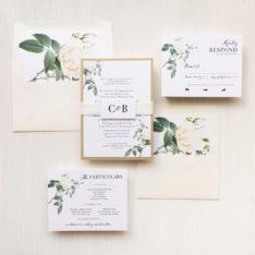 Ivory & White Floral Wedding Invitations