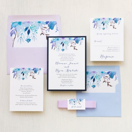 Blue lilac wedding invitations