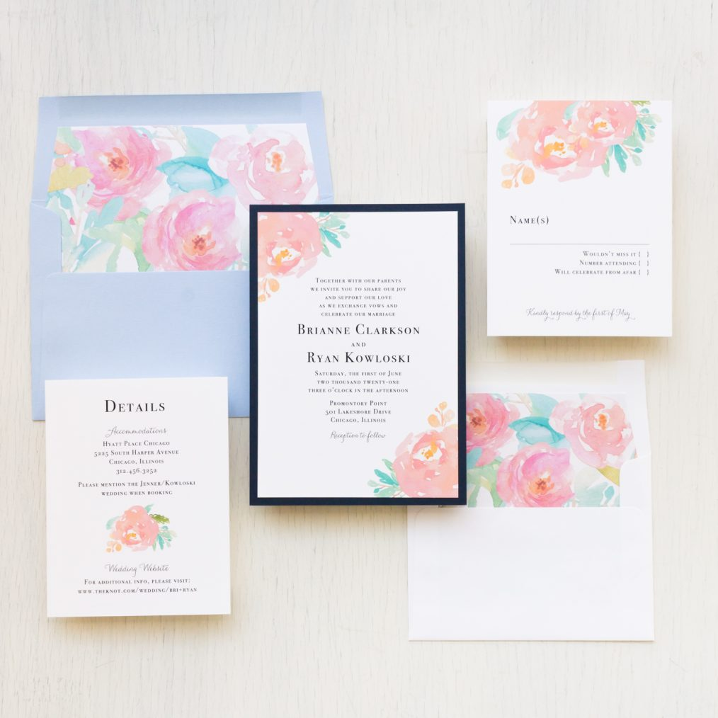 Modern Watercolor Pastel Wedding Invitations